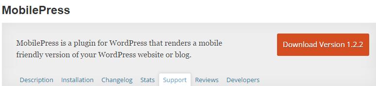WordPress plugin MobilePress