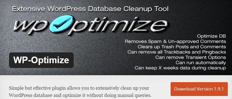 WordPress database plugins WP-Optimize