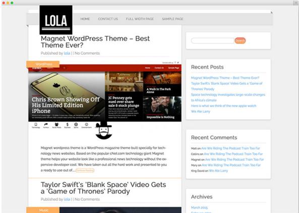WordPress theme Lola