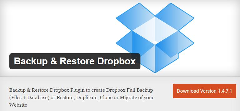 WordPress plugin Backup and restore dropbox