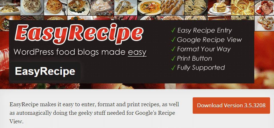 WordPress plugin Easy-recipe