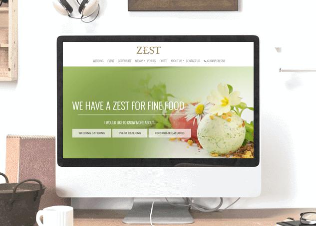 Zest catering web design