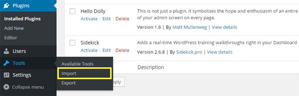 wordpress.org tools import