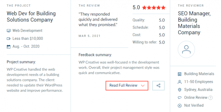 WP Creative Gains Very First 5-Star Review on Clutch